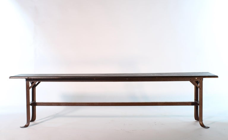 Vintage Industrial Factory Waiting Bench For Sale 8