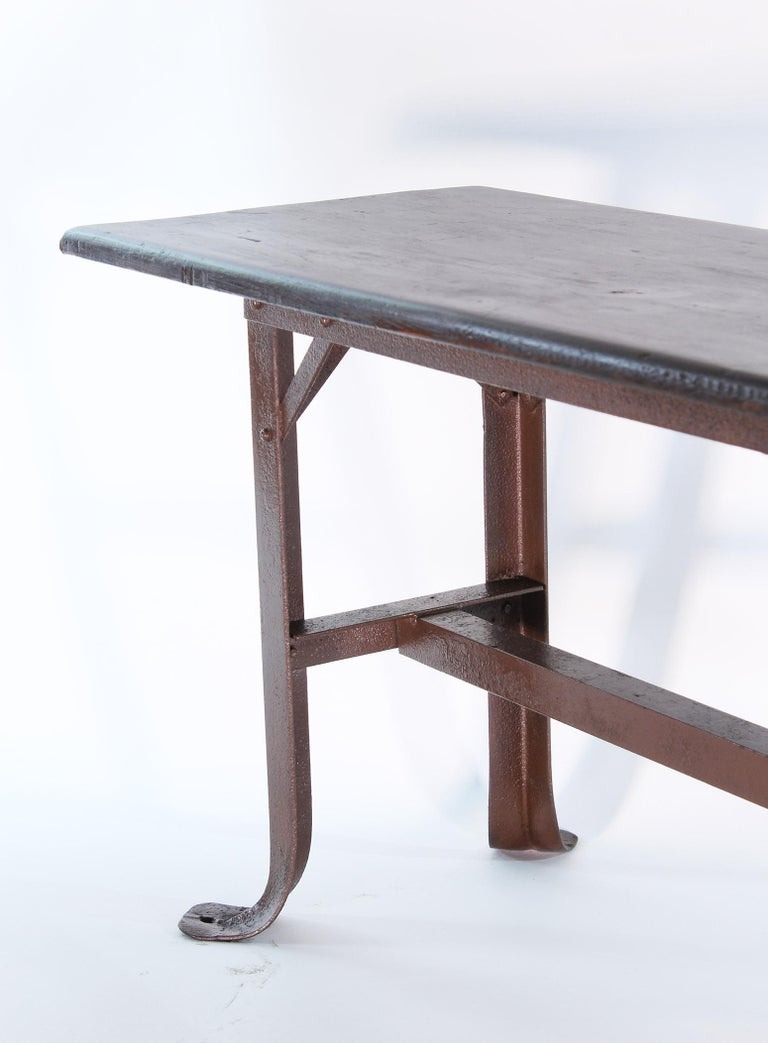 Vintage Industrial Factory Waiting Bench In Distressed Condition For Sale In Oakville, CT