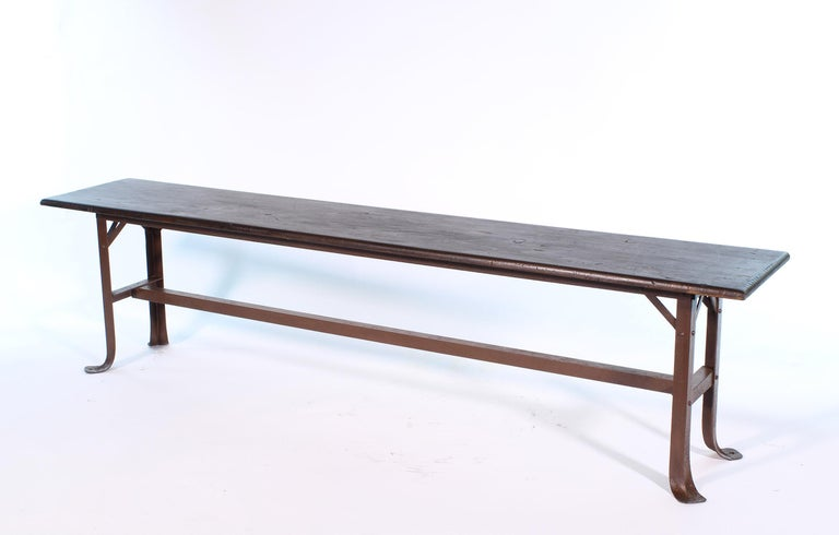 20th Century Vintage Industrial Factory Waiting Bench For Sale