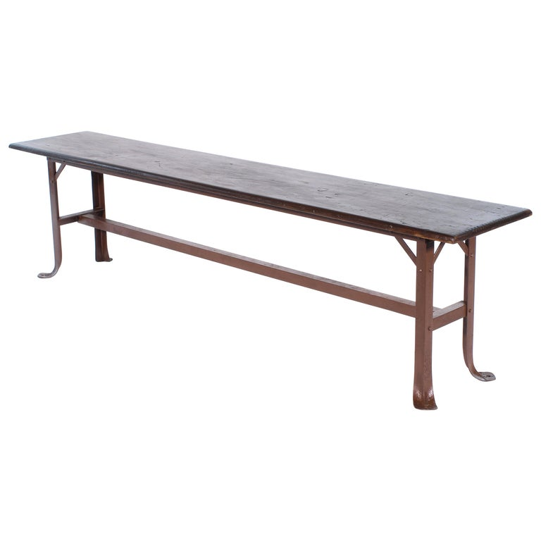 Vintage Industrial Factory Waiting Bench For Sale