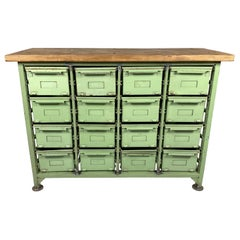 Vintage Industrial Filling Cabinet, Iron Drawers, Wooden Top, 1950s
