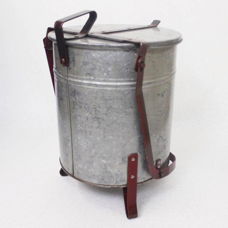 American Vintage Industrial Galvanized Steel Waste Basket Trash Can Bin, Justrite Chicago For Sale