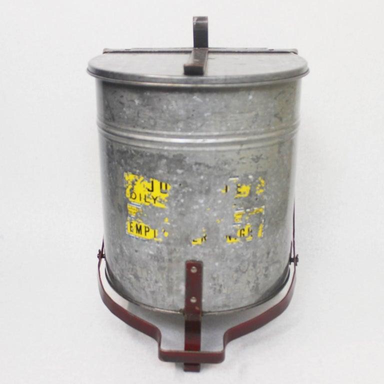 Mid-20th Century Vintage Industrial Galvanized Steel Waste Basket Trash Can Bin, Justrite Chicago For Sale