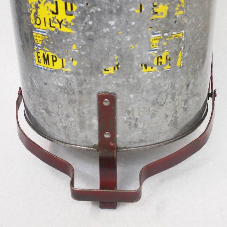 Vintage Industrial Galvanized Steel Waste Basket Trash Can Bin, Justrite Chicago For Sale 1