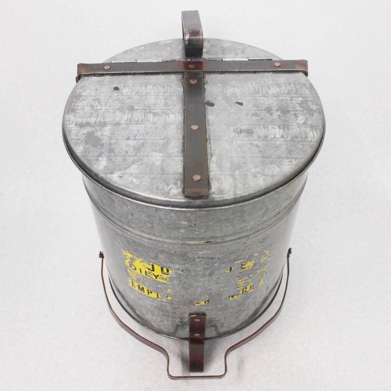 Vintage Industrial Galvanized Steel Waste Basket Trash Can Bin, Justrite Chicago For Sale 2