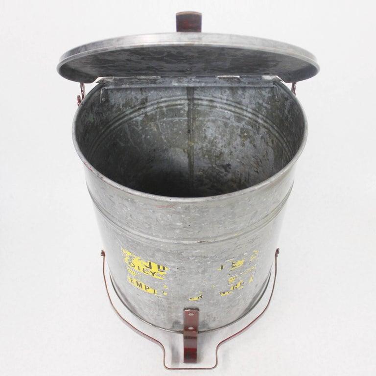 Vintage Industrial Galvanized Steel Waste Basket Trash Can Bin, Justrite Chicago For Sale 3