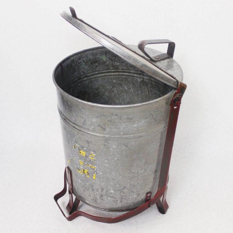 Vintage Industrial Galvanized Steel Waste Basket Trash Can Bin, Justrite Chicago For Sale 4