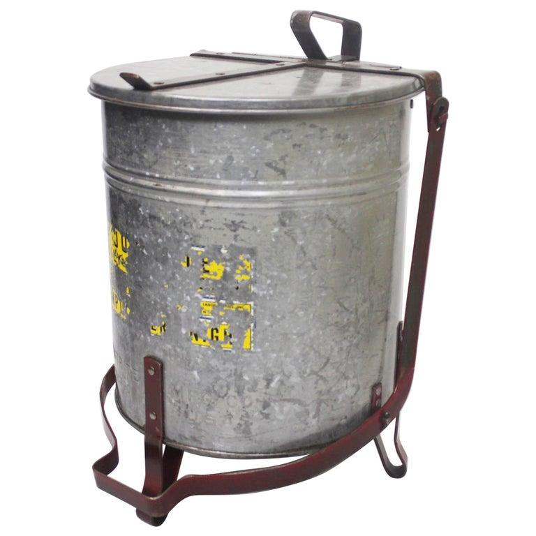 Vintage Industrial Galvanized Steel Waste Basket Trash Can Bin, Justrite Chicago For Sale