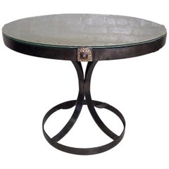 Vintage Industrial Glass Top Table
