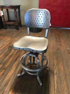 Vintage Industrial GoodForm Adjustable Drafting Stool with Large Backrest