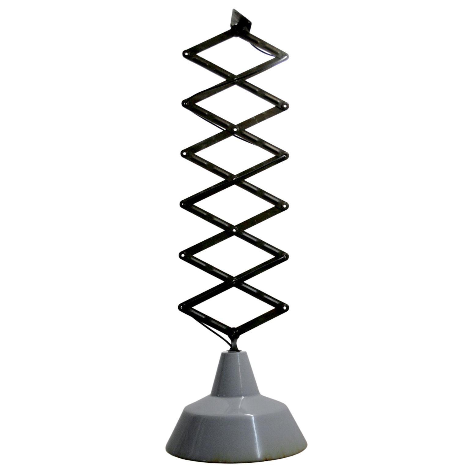 Vintage Industrial Gray Enamel Scissor Pendant Lights