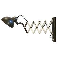 Vintage Industrial Green Scissor Wall Lamp, 1960s