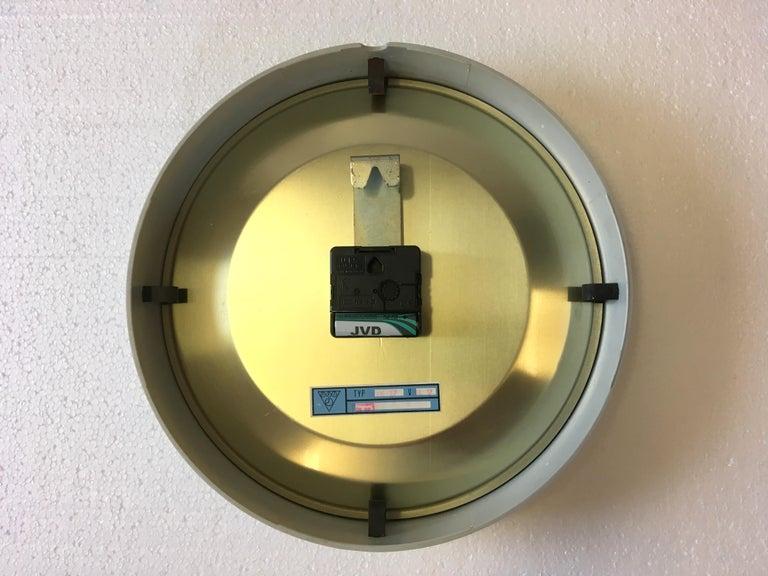 Glass Vintage Industrial Grey Bakelite Wall Clock from Pragotron, 1970s For Sale