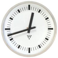 Vintage Industrial Grey Bakelite Wall Clock from Pragotron, 1970s