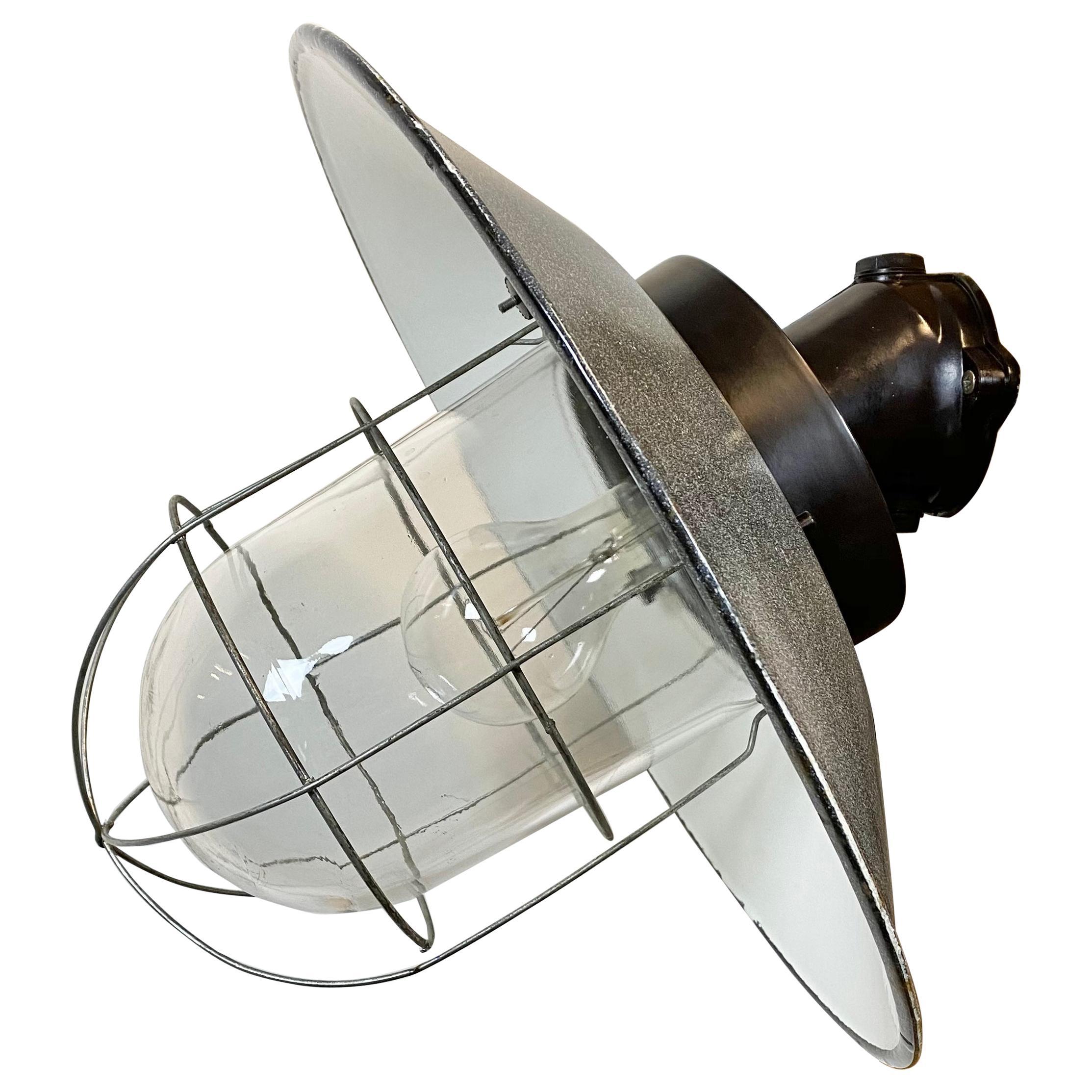 Vintage Industrial Grey Enamel Wall Lamp, 1960s