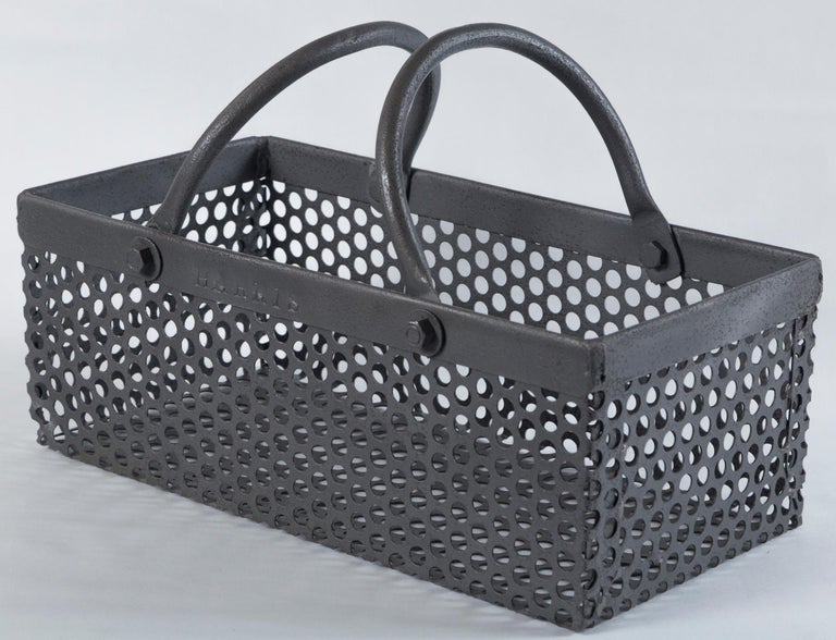 Vintage Industrial Iron Basket, 20th Century In Good Condition In Chappaqua, NY