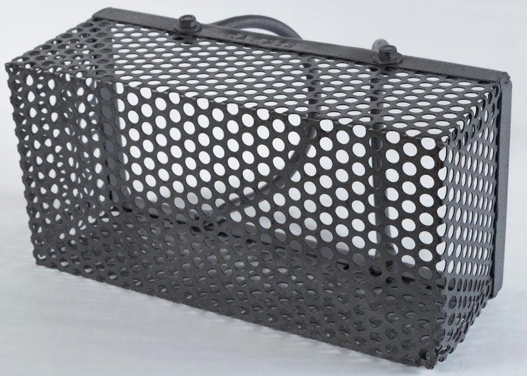 Vintage Industrial Iron Basket, 20th Century 4