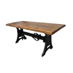 Vintage Industrial Iron Wood Adjustable Height Desk Table