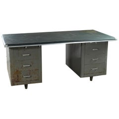 Vintage Industrial Metal Cabinet Desk / Table, 20th Century