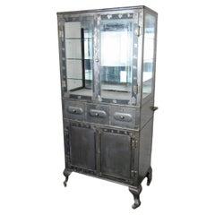 Vintage Industrial Metal Display Cabinet