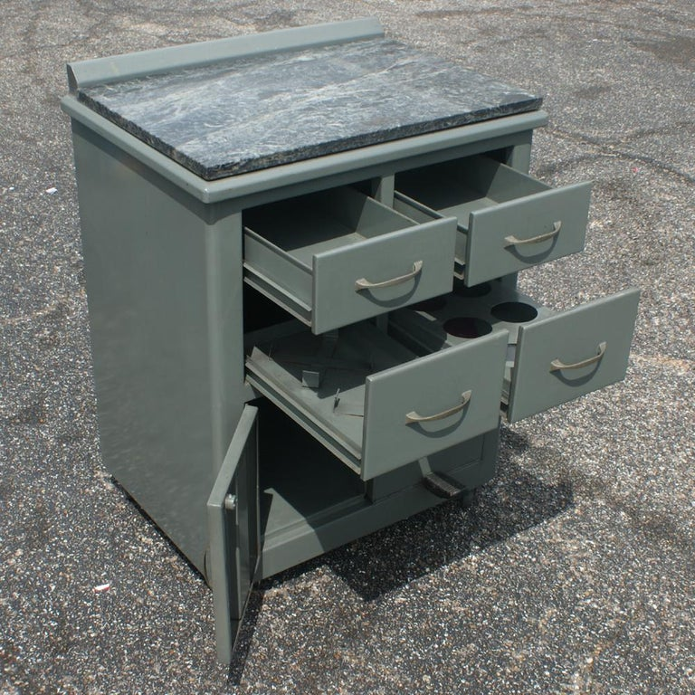 Mid-20th Century Vintage Industrial Metal Marble Cabinet For Sale