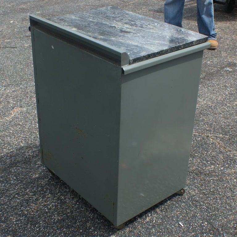 Steel Vintage Industrial Metal Marble Cabinet For Sale