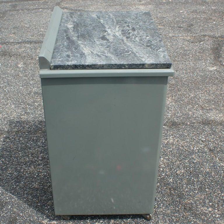 Vintage Industrial Metal Marble Cabinet For Sale 1