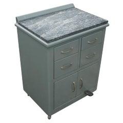 Vintage Industrial Metal Marble Cabinet