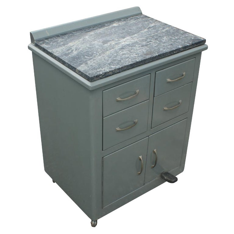 Vintage Industrial Metal Marble Cabinet For Sale at 1stdibs