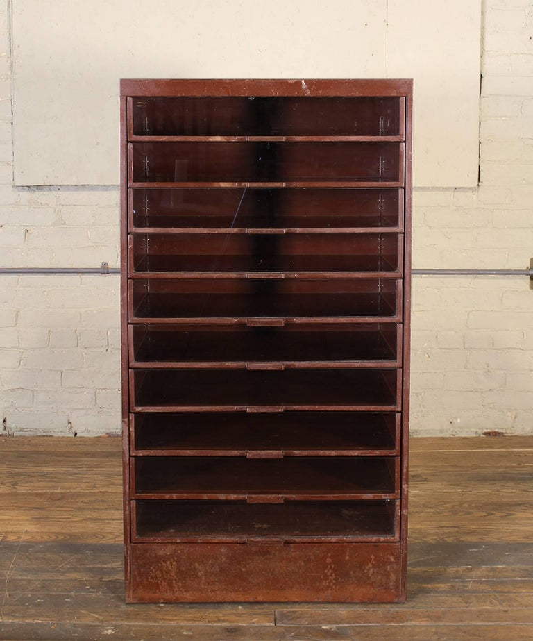 Vintage Industrial Metal Storage Cabinet with Glass Drawers For Sale 5