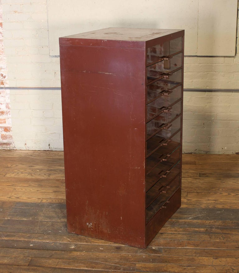 Vintage Industrial Metal Storage Cabinet with Glass Drawers For Sale 6