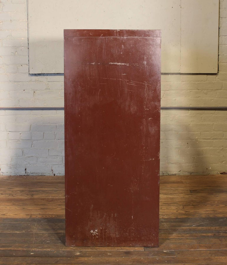 Vintage Industrial Metal Storage Cabinet with Glass Drawers For Sale 7