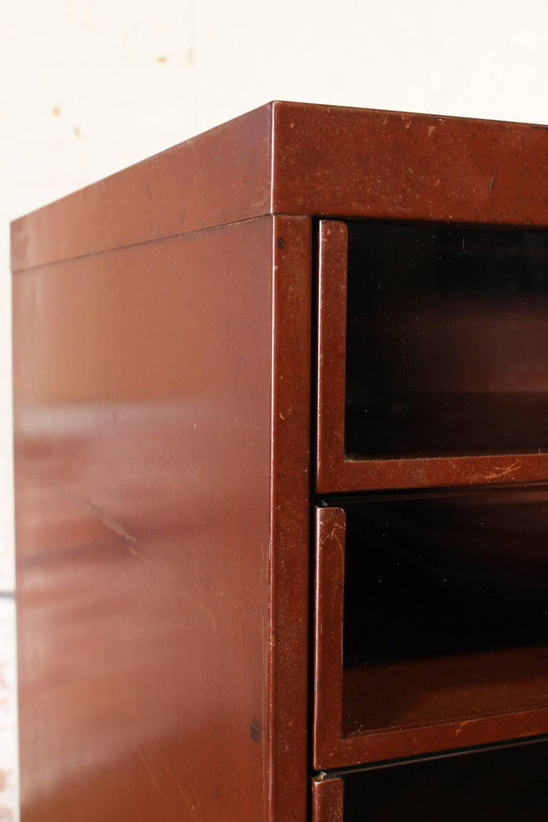Vintage Industrial Metal Storage Cabinet with Glass Drawers For Sale 8