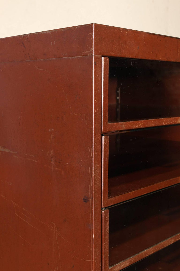 Vintage Industrial Metal Storage Cabinet with Glass Drawers For Sale 10