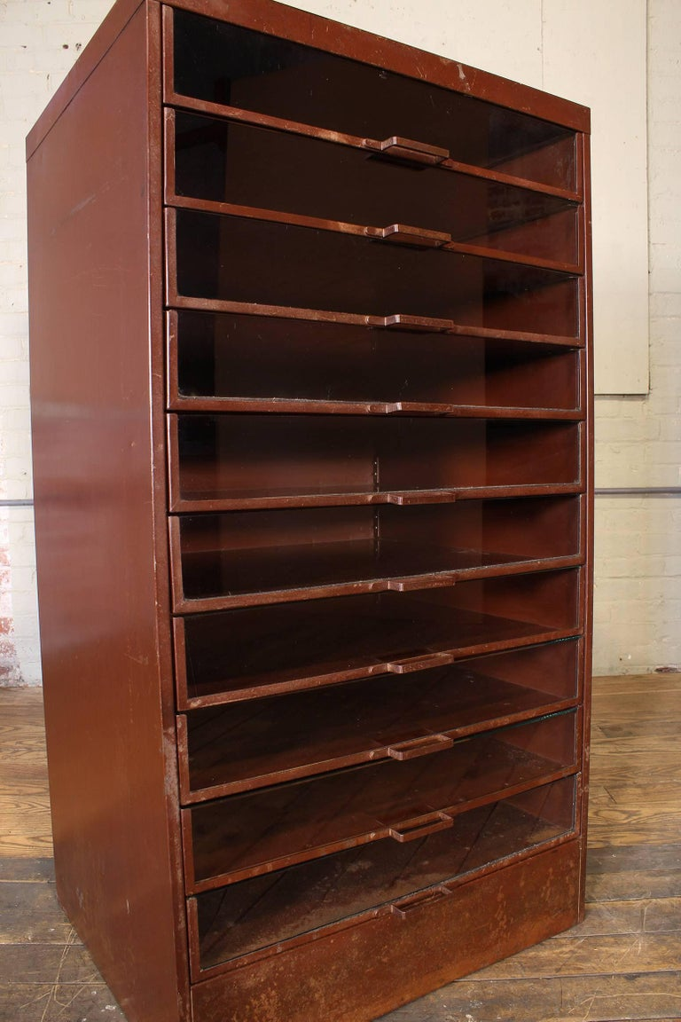 Vintage Industrial Metal Storage Cabinet with Glass Drawers For Sale 11