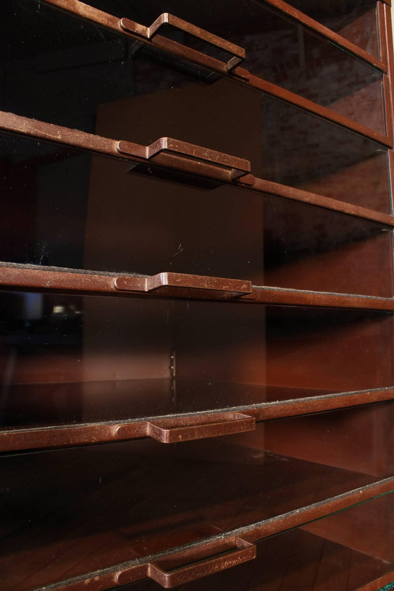 Vintage Industrial Metal Storage Cabinet with Glass Drawers For Sale 12