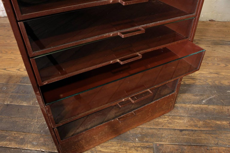 Vintage Industrial Metal Storage Cabinet with Glass Drawers For Sale 13