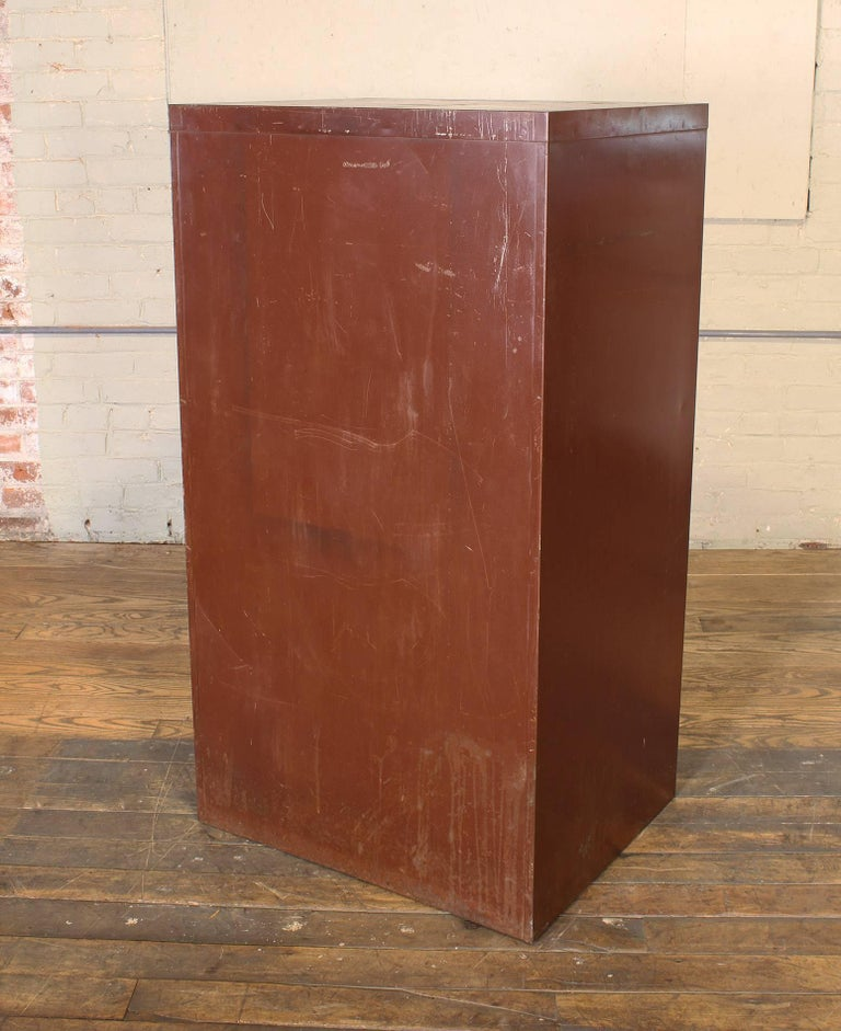 Vintage Industrial Metal Storage Cabinet with Glass Drawers For Sale 14
