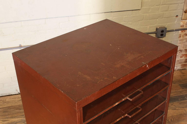 Vintage Industrial Metal Storage Cabinet with Glass Drawers For Sale 15