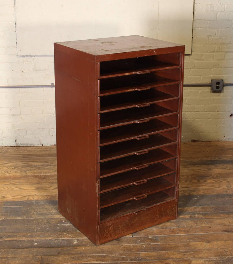 American Vintage Industrial Metal Storage Cabinet with Glass Drawers For Sale