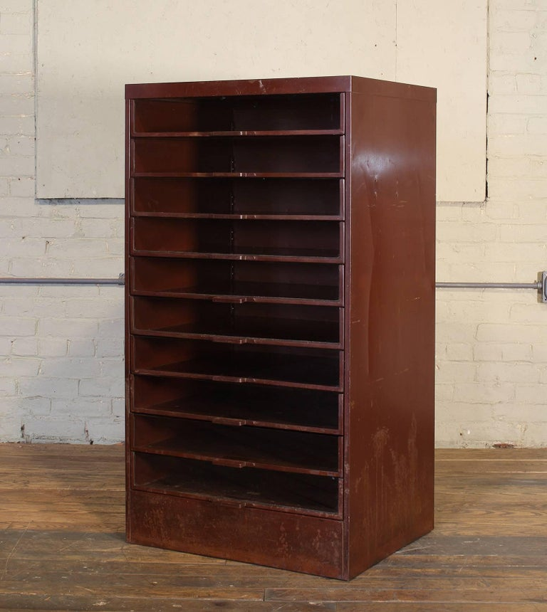 Vintage Industrial Metal Storage Cabinet with Glass ...