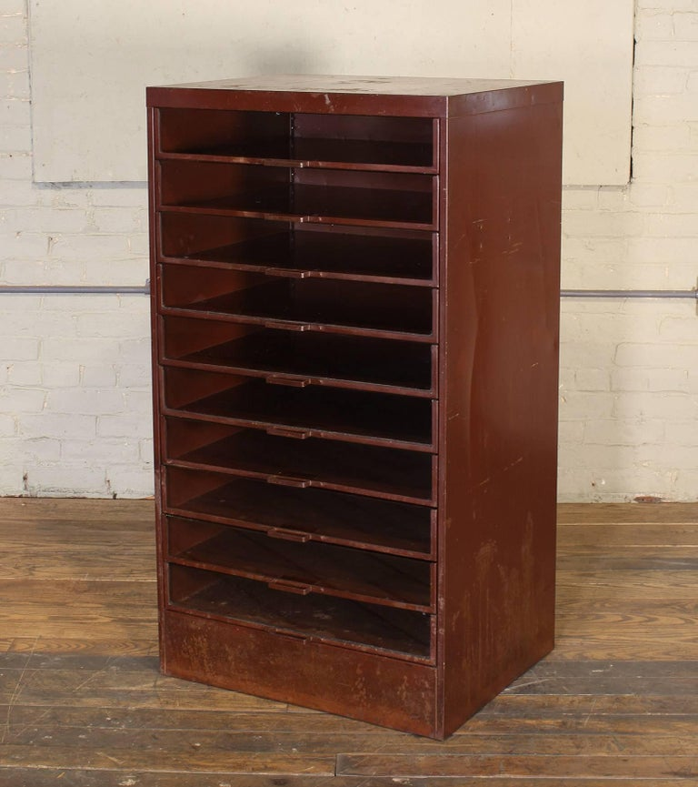 20th Century Vintage Industrial Metal Storage Cabinet with Glass Drawers For Sale