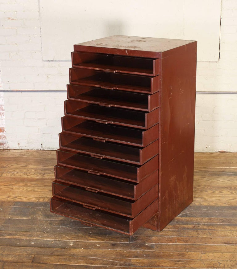 Vintage Industrial Metal Storage Cabinet with Glass Drawers For Sale 1