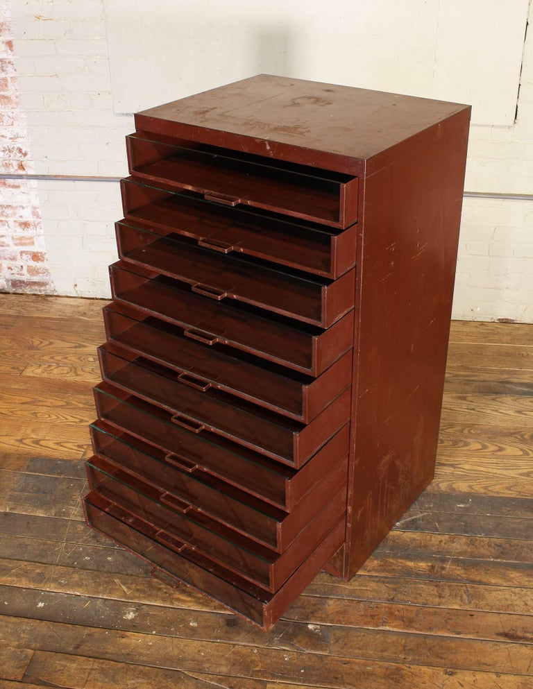 Vintage Industrial Metal Storage Cabinet with Glass Drawers For Sale 2