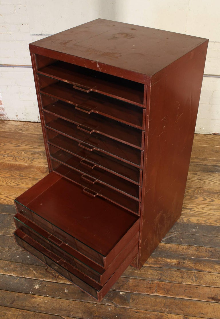 Vintage Industrial Metal Storage Cabinet with Glass Drawers For Sale 3