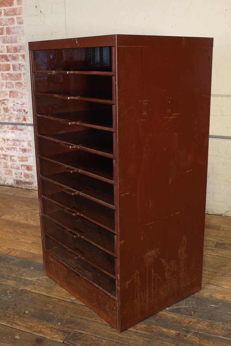 Vintage Industrial Metal Storage Cabinet with Glass Drawers For Sale 4