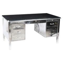 Vintage Industrial Modernist Polished Steel Pedestal Desk by Cubacier Mid-20th C