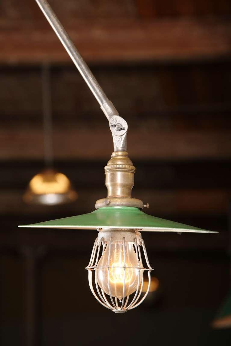 American Vintage Industrial, O.C. White Adjustable Ceiling Task Light Lamp For Sale