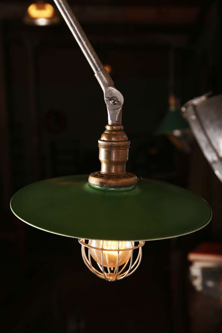 20th Century Vintage Industrial, O.C. White Adjustable Ceiling Task Light Lamp For Sale