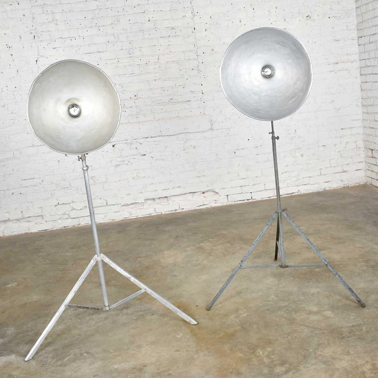 Unknown Vintage Industrial Pair of Photographers Floor Lights Tripod Base For Sale